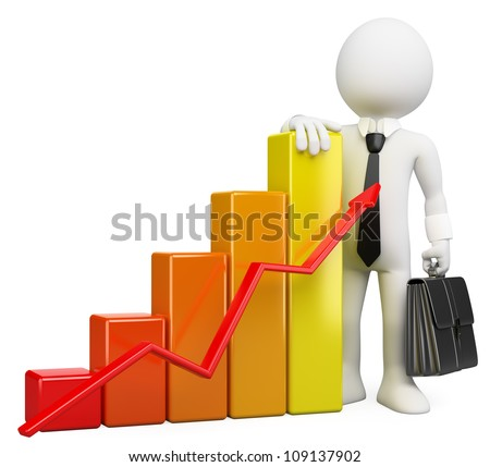 3d white business person with a growing bar graph. 3d image. Isolated white background.