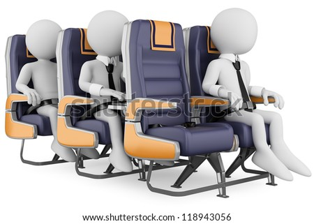 3d white business persons in a plane with the seat belt fastened, one working with a laptop. 3d image. Isolated white background.