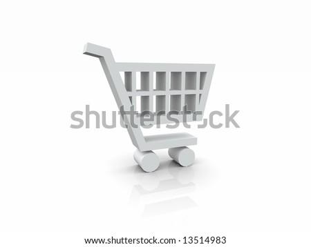 3D White Cart Symbol