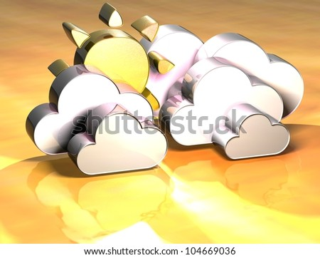 3D White Clouds With Sun Gold Sign over yellow background - stock photo