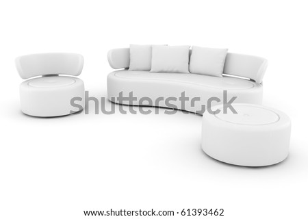 3d white couch isolated on white