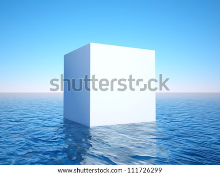 3d white cube on sea surface