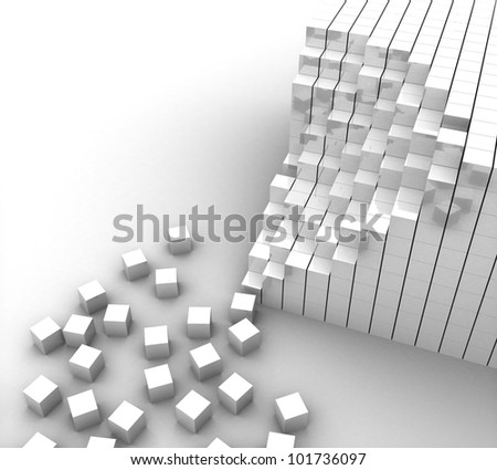 3d white cubes lined up and scattered on a white background