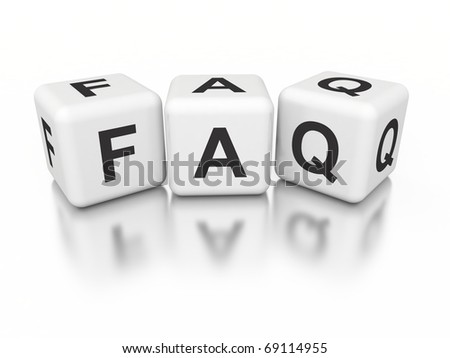 3d white cubes with FAQ