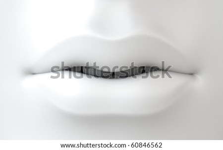 3D white female lips