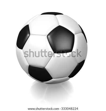 3D white football soccer ball with black color spots, isolated on white background. #333048224