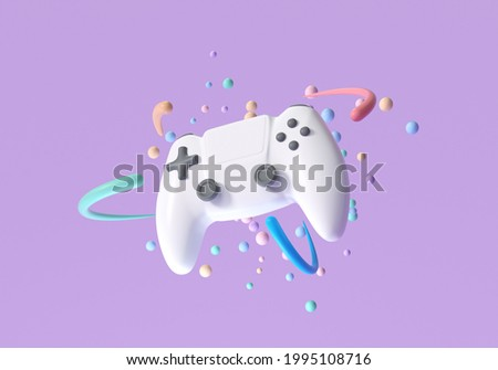 3d white gamepad, joystick controller, entertainment gameplay symbol. 3d render illustration Foto stock ©