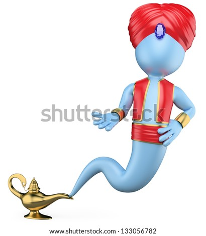 3d white genie out of the lamp. 3d image. Isolated white background.