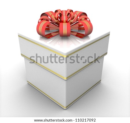 3d white gift box - stock photo