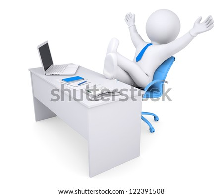 3d white human sitting at the table happily raised his hands up. Isolated render on a white background