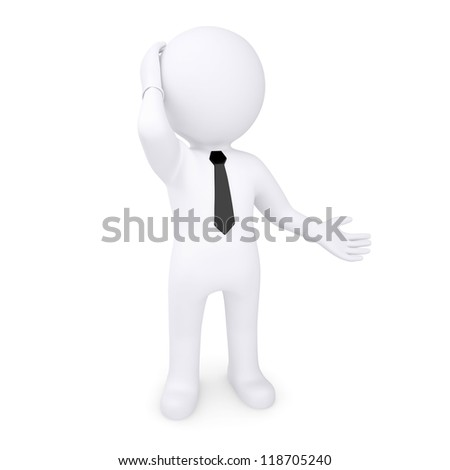 3d white human thoughtfully hand on the head. Isolated render on a white background