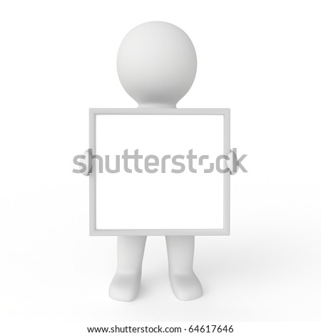 3d white human with blank board