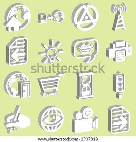 3d white internet and computing icons. Raster version