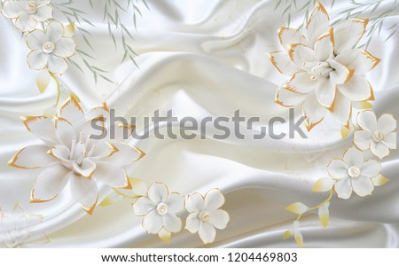 3D White jade flower on fabric background, wallpaper for walls.