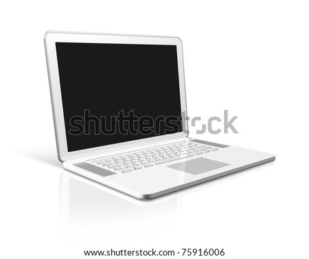 3D white laptop computer isolated on white with 2 clipping path : one for global scene and one for the screen - stock photo