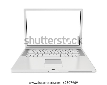 3d white laptop isolated on white background