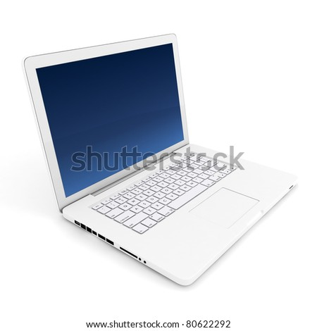 3d white laptop on white background - stock photo
