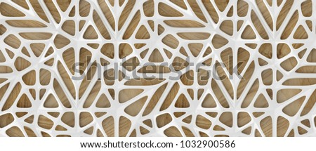 3d white lattice tiles on wooden oak background. Material wood oak. High quality seamless realistic texture.