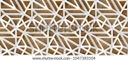 3d white loft lattice tiles on wooden oak background. Material wood oak. High quality seamless realistic texture.
