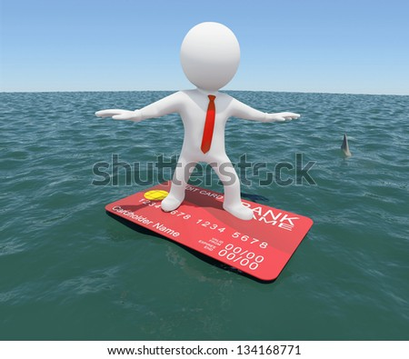 3d white man floating on a credit card in the sea. Against the background of the blue expanse of the sea and sky
