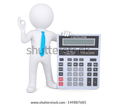3d white man holding a calculator. Isolated render on a white background - stock photo