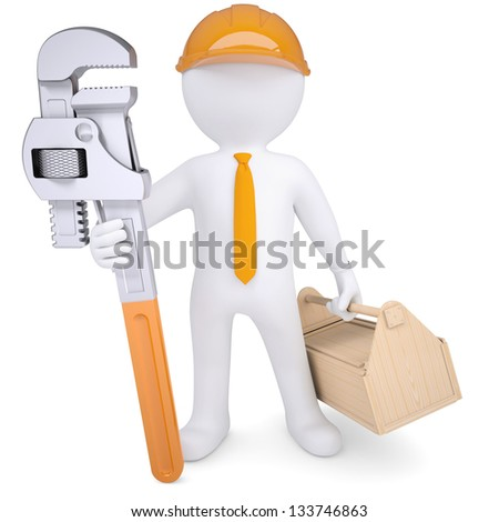 3d white man in a helmet with a pipe wrench and tool box. Isolated render on a white background