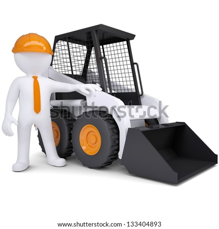 3d white man near the truck. Isolated render on a white background