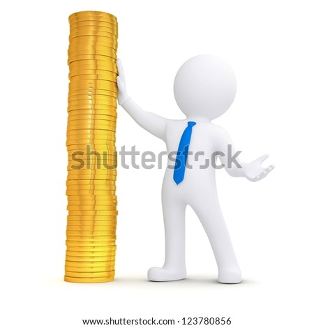 3d white man next to a pile of gold coins. Isolated render on a white background