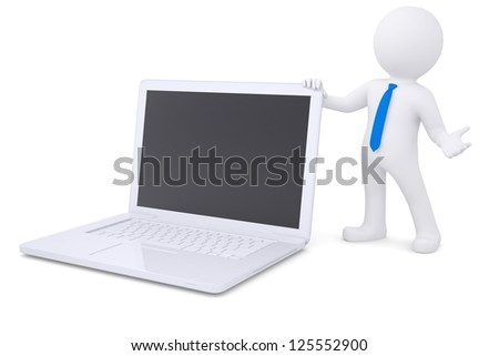 3d white man next to the laptop. Isolated render on a white background