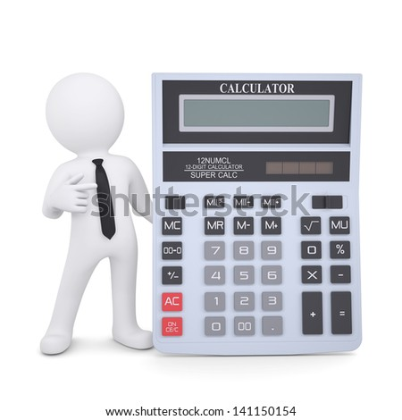 3d white man points a finger at a calculator. Isolated render on a white background