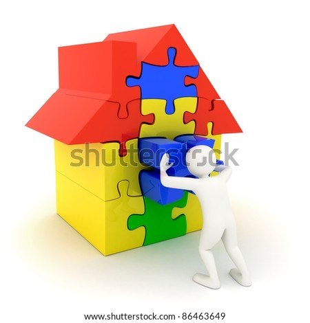 3d white man pushing in place the last piece of a colorful puzzle house