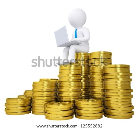 3d white man with a laptop sitting on the coins. Isolated render on a white background