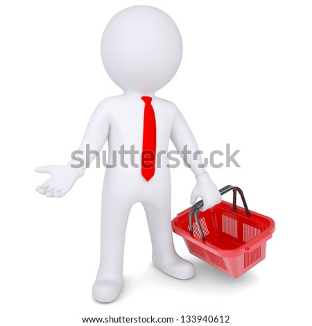 3d white man with a shopping basket. Isolated render on a white background