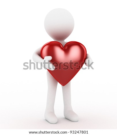3D white man with big heart isolated