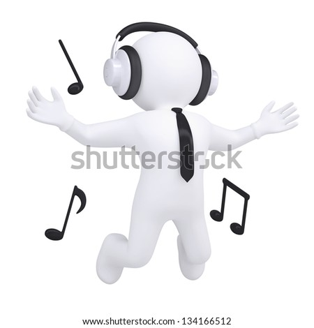 3d white man with headphones in the jump. Isolated render on a white background