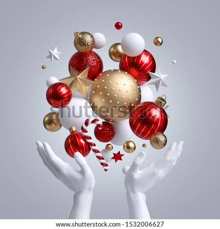 3d white mannequin hands holding Christmas ornaments, red and gold balls, stars and candy cane. Seasonal festive clip art, isolated on white background. Abstract holiday concept.