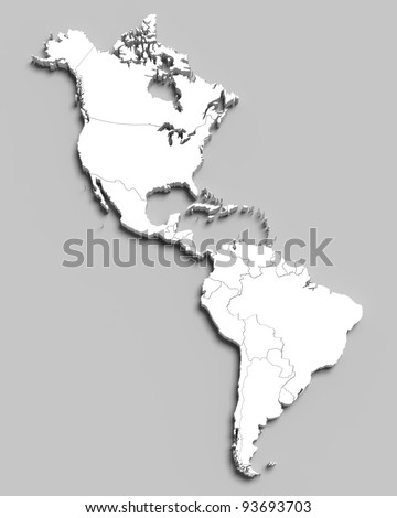3d white map of south and north american countries on grey isolated - stock photo