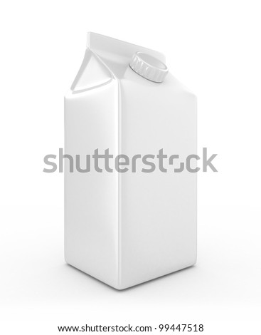 3D White Milk Box - Isolated