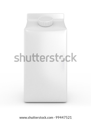 3D White Milk Box - Isolated - stock photo