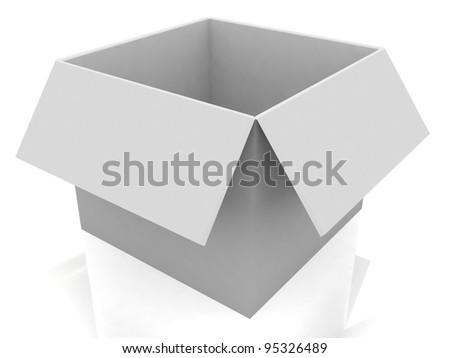 3d white open box