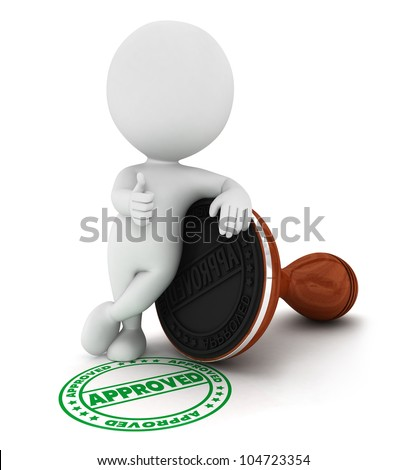 3d white people approved wood rubber stamp in a positive pose, isolated white background, 3d image