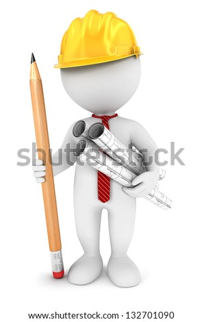 3d white people architect, isolated white background, 3d image