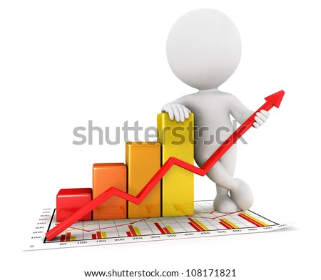 3d white people business statistic graph, isolated white background, 3d image