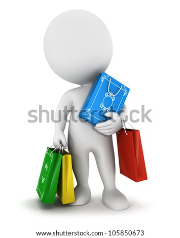 3d white people carries shopping bags, isolated white background, 3d image