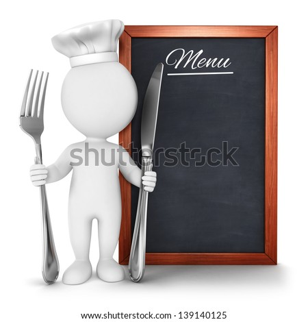 3d white people chef with menu, isolated white background, 3d image