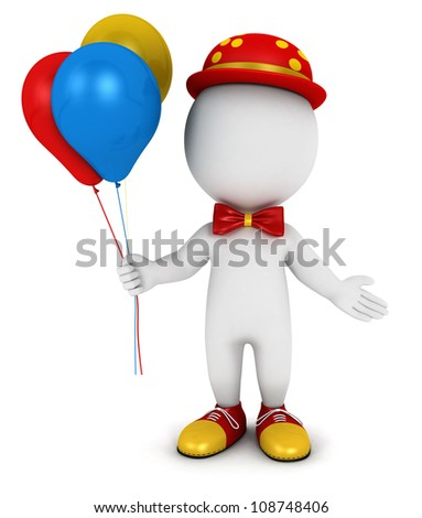 3d white people clown with balloons, isolated white background, 3d image