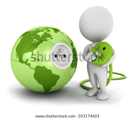 3d white people connects plug inside green earth, isolated white background, 3d image