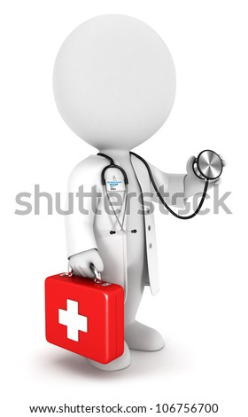 3d white people doctor with a stethoscope and first aid kit, isolated white background, 3d image
