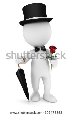 3d white people gentleman with an umbrella, bow tie, hat and a rose, isolated white background, 3d image