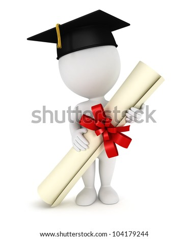 3d white people graduate, with a diploma certificate and a black mortarboard, isolated white background, 3d image